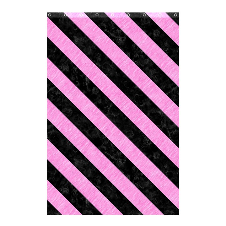 STRIPES3 BLACK MARBLE & PINK COLORED PENCIL Shower Curtain 48  x 72  (Small)