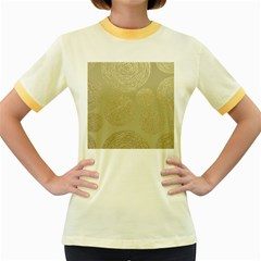 Modern, Gold,polka Dots, Metallic,elegant,chic,hand Painted, Beautiful,contemporary,deocrative,decor Women s Fitted Ringer T Shirts