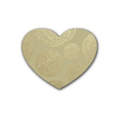 Modern, Gold,polka Dots, Metallic,elegant,chic,hand Painted, Beautiful,contemporary,deocrative,decor Rubber Coaster (heart)
