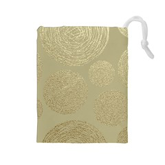 Modern, Gold,polka Dots, Metallic,elegant,chic,hand Painted, Beautiful,contemporary,deocrative,decor Drawstring Pouches (large)