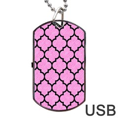 Tile1 Black Marble & Pink Colored Pencil Dog Tag Usb Flash (one Side)