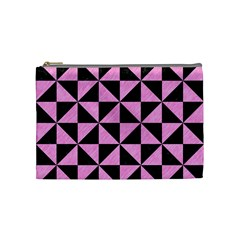 Triangle1 Black Marble & Pink Colored Pencil Cosmetic Bag (medium)