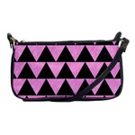 TRIANGLE2 BLACK MARBLE & PINK COLORED PENCIL Shoulder Clutch Bags Front