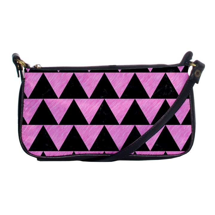 TRIANGLE2 BLACK MARBLE & PINK COLORED PENCIL Shoulder Clutch Bags
