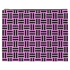 Woven1 Black Marble & Pink Colored Pencil Cosmetic Bag (xxxl)