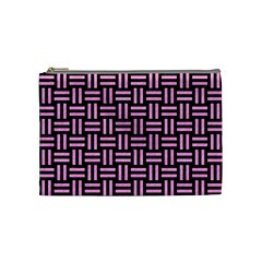 Woven1 Black Marble & Pink Colored Pencil (r) Cosmetic Bag (medium)