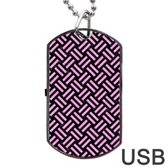 Woven2 Black Marble & Pink Colored Pencil (r) Dog Tag Usb Flash (one Side)