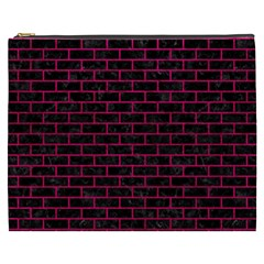 Brick1 Black Marble & Pink Leather (r) Cosmetic Bag (xxxl)
