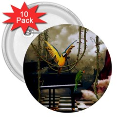 Funny Parrots In A Fantasy World 3  Buttons (10 Pack)