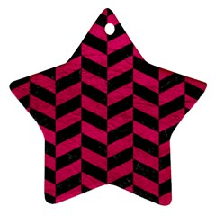 Chevron1 Black Marble & Pink Leather Star Ornament (two Sides)
