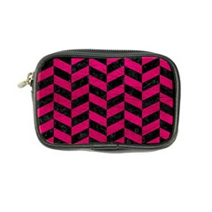 Chevron1 Black Marble & Pink Leather Coin Purse