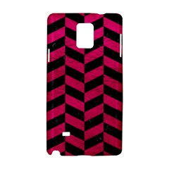 Chevron1 Black Marble & Pink Leather Samsung Galaxy Note 4 Hardshell Case