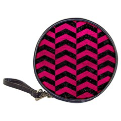 Chevron2 Black Marble & Pink Leather Classic 20 Cd Wallets