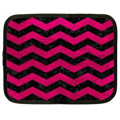 Chevron3 Black Marble & Pink Leather Netbook Case (large)