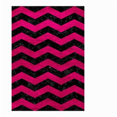 Chevron3 Black Marble & Pink Leather Small Garden Flag (two Sides)