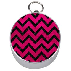 Chevron9 Black Marble & Pink Leather Silver Compasses