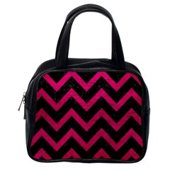 Chevron9 Black Marble & Pink Leather (r) Classic Handbags (one Side)