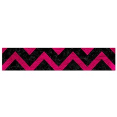 Chevron9 Black Marble & Pink Leather (r) Flano Scarf (small)