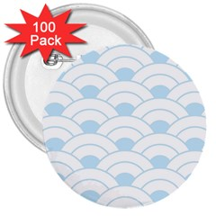 Blue,white,shell,pattern 3  Buttons (100 Pack)