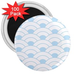 Blue,white,shell,pattern 3  Magnets (100 Pack)