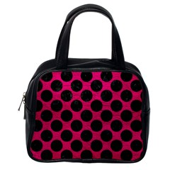 Circles2 Black Marble & Pink Leather Classic Handbags (one Side)