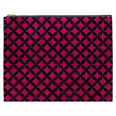 Circles3 Black Marble & Pink Leather Cosmetic Bag (xxxl)