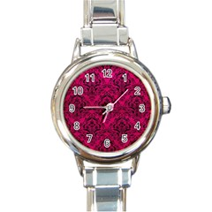 Damask1 Black Marble & Pink Leather Round Italian Charm Watch