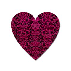 Damask2 Black Marble & Pink Leather (r) Heart Magnet