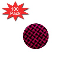 Houndstooth2 Black Marble & Pink Leather 1  Mini Magnets (100 Pack)