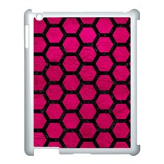 Hexagon2 Black Marble & Pink Leather Apple Ipad 3/4 Case (white)
