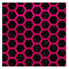 Hexagon2 Black Marble & Pink Leather (r) Large Satin Scarf (square)