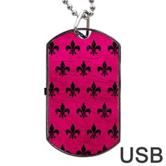 Royal1 Black Marble & Pink Leather (r) Dog Tag Usb Flash (one Side)