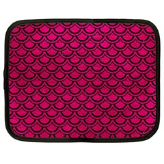 Scales2 Black Marble & Pink Leather Netbook Case (large)
