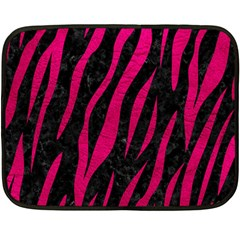 Skin3 Black Marble & Pink Leather (r) Double Sided Fleece Blanket (mini)