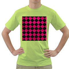 Square2 Black Marble & Pink Leather Green T Shirt