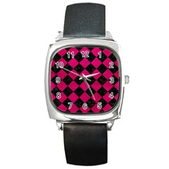 Square2 Black Marble & Pink Leather Square Metal Watch