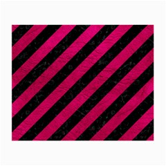 Stripes3 Black Marble & Pink Leather (r) Small Glasses Cloth (2 Side)