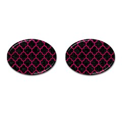 Tile1 Black Marble & Pink Leather (r) Cufflinks (oval)