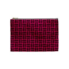 Woven1 Black Marble & Pink Leather Cosmetic Bag (medium)