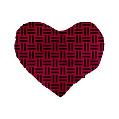 Woven1 Black Marble & Pink Leather Standard 16  Premium Heart Shape Cushions