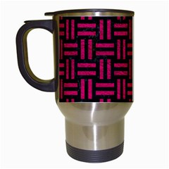 Woven1 Black Marble & Pink Leather (r) Travel Mugs (white)