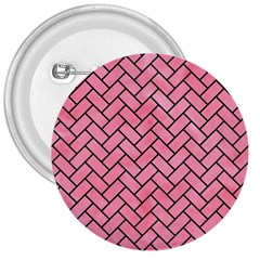 Brick2 Black Marble & Pink Watercolor 3  Buttons