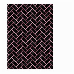 Brick2 Black Marble & Pink Watercolor (r) Large Garden Flag (two Sides)