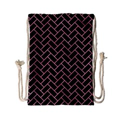 Brick2 Black Marble & Pink Watercolor (r) Drawstring Bag (small)