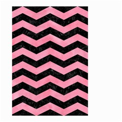Chevron3 Black Marble & Pink Watercolor Small Garden Flag (two Sides)