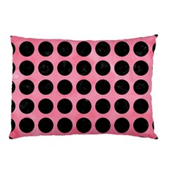 Circles1 Black Marble & Pink Watercolor Pillow Case