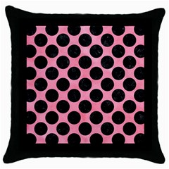 Circles2 Black Marble & Pink Watercolor Throw Pillow Case (black)