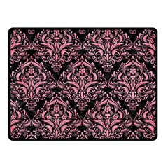 Damask1 Black Marble & Pink Watercolor (r) Double Sided Fleece Blanket (small)