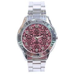 Damask2 Black Marble & Pink Watercolor Stainless Steel Analogue Watch