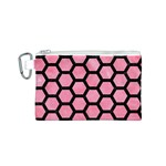 HEXAGON2 BLACK MARBLE & PINK WATERCOLOR Canvas Cosmetic Bag (S) Front